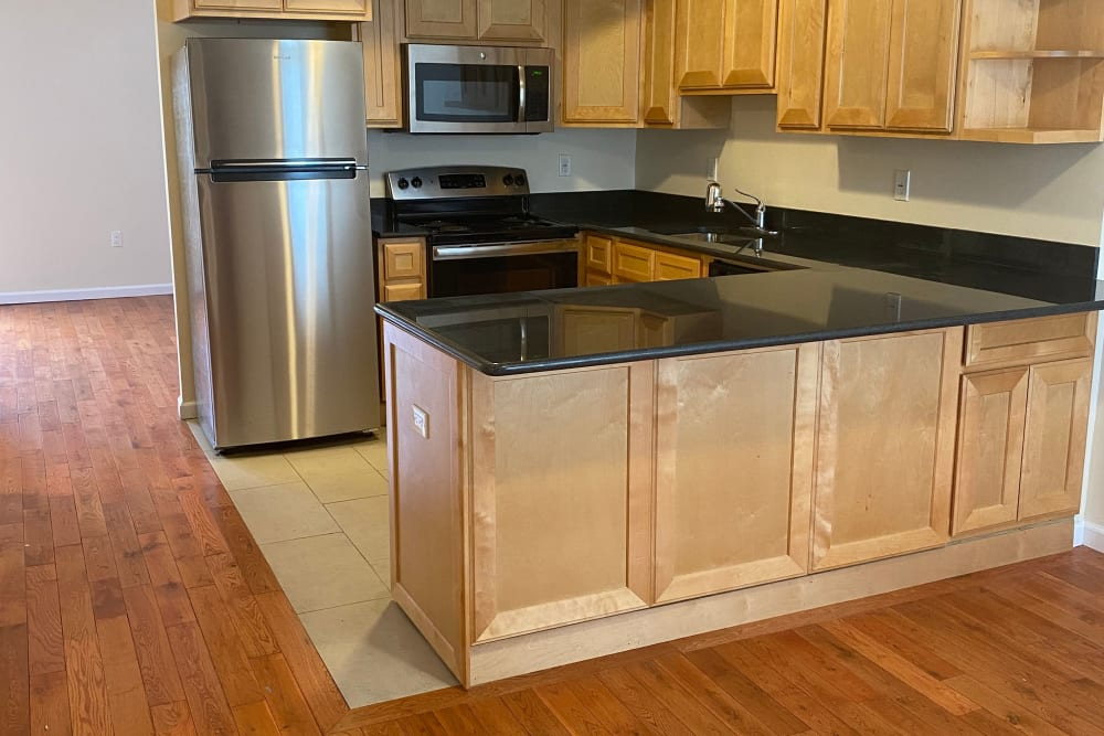 Kitchen counter at Dwight Gardens Apartments in New Haven, Connecticut