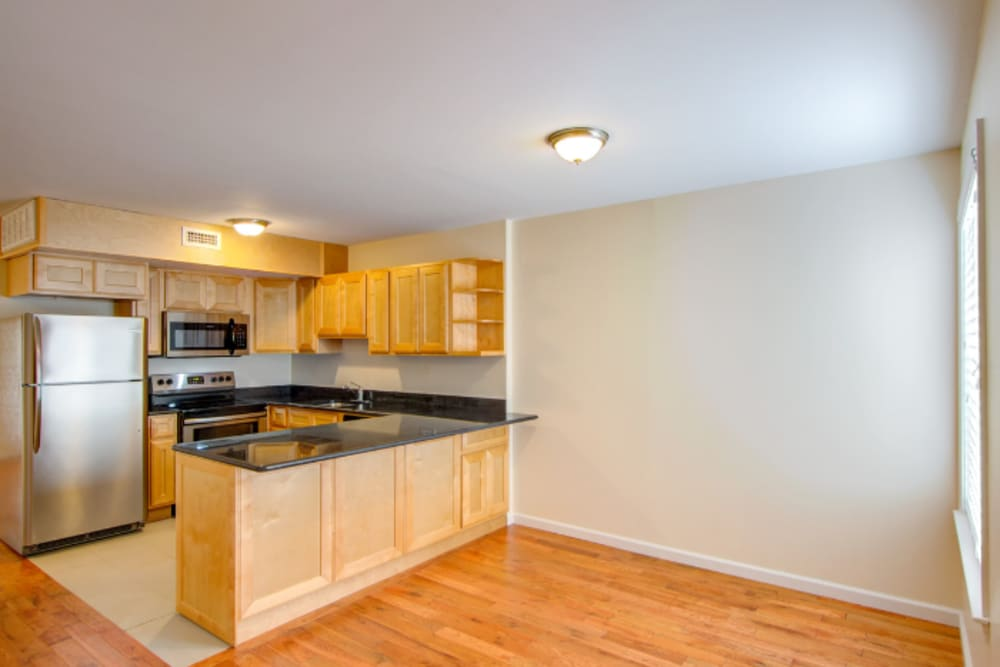 Open kitchen at Dwight Gardens Apartments in New Haven, Connecticut
