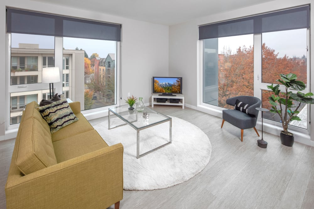 Well decorated living room at Division Terrace in Portland, Oregon