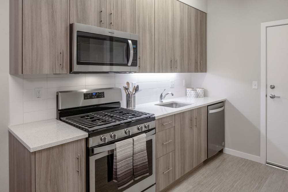 Fully equipped kitchen at Division Terrace in Portland, Oregon