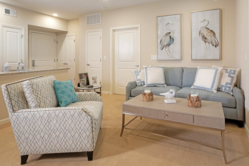 Private living room at Harmony at Enterprise in Bowie, Maryland