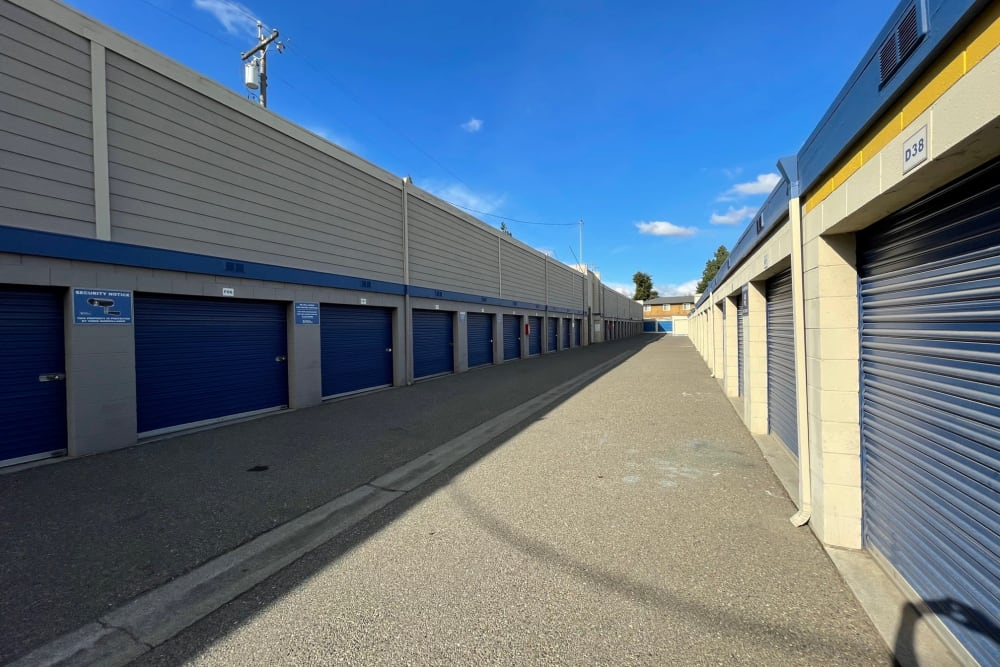 Drive-up units at Storage Solutions in Manteca, California