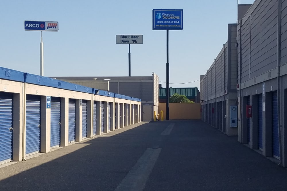 Outside units at Storage Solutions in Manteca, California