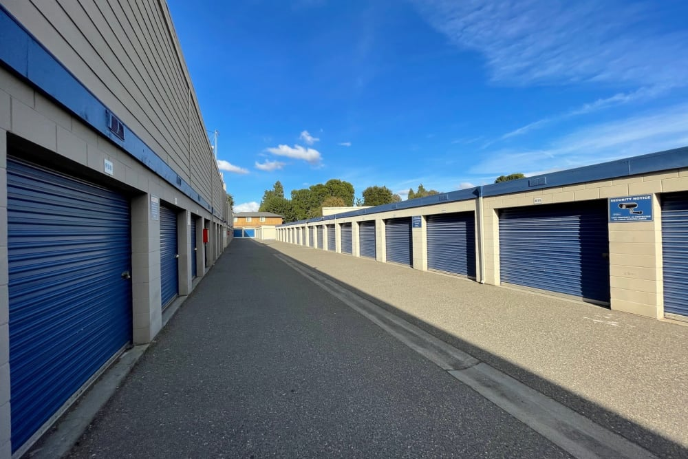 Outside access drive-up units at Storage Solutions in Manteca, California