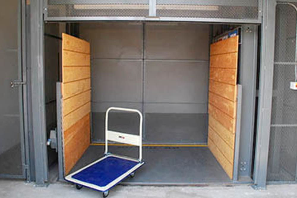 Elevator and large dolly at Storage Solutions in Manteca, California