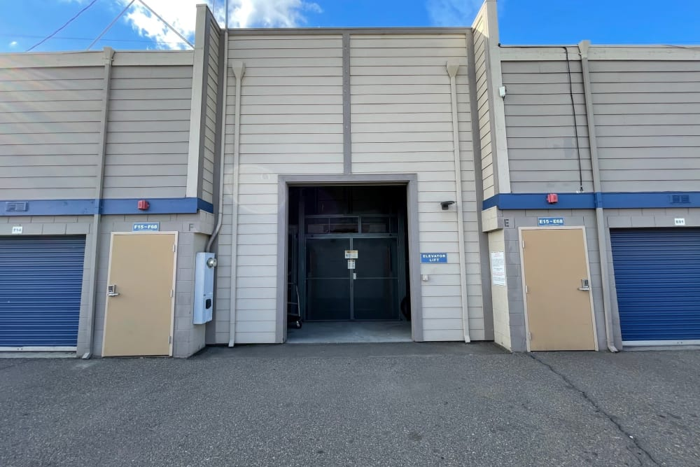 Entrance to elevator at Storage Solutions in Manteca, California