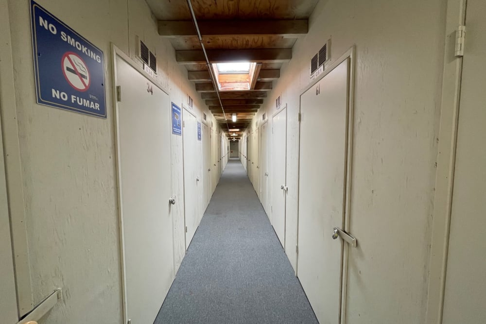 Inside unit access hallway of Storage Solutions in Manteca, California