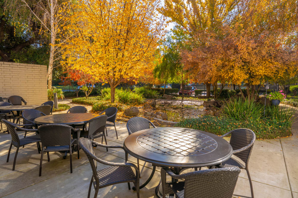Patio and Pond Area at Campus Commons Senior Living in Sacramento, California