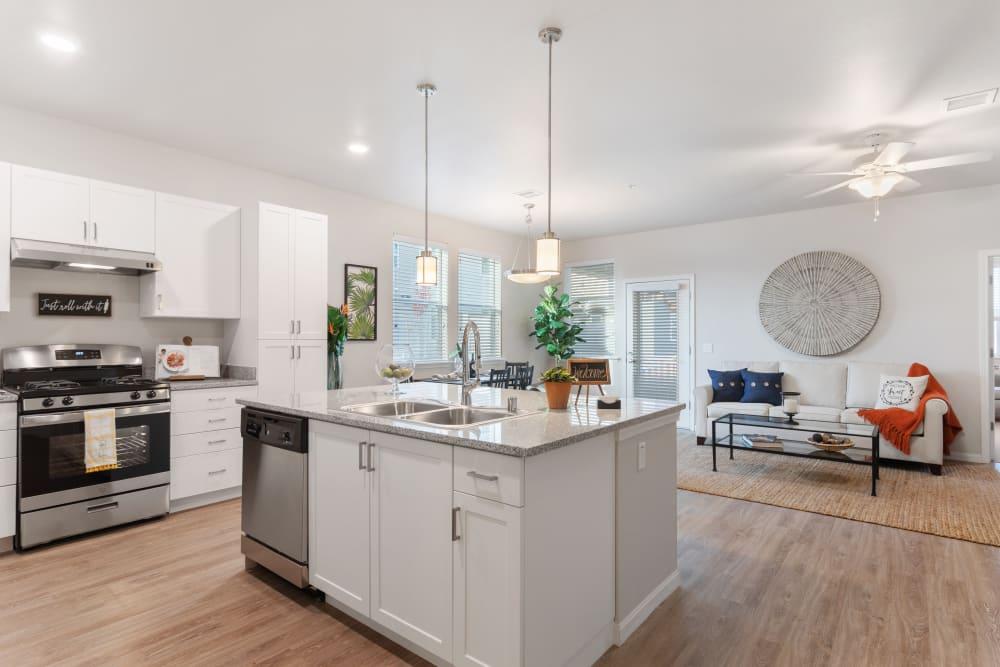 Kitchen sink island at WellQuest of Elk Grove in Elk Grove, California