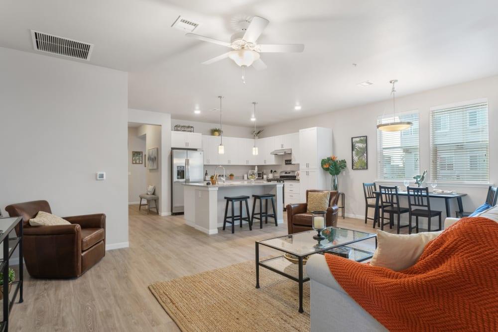 living room with open kitchen at WellQuest of Elk Grove in Elk Grove, California