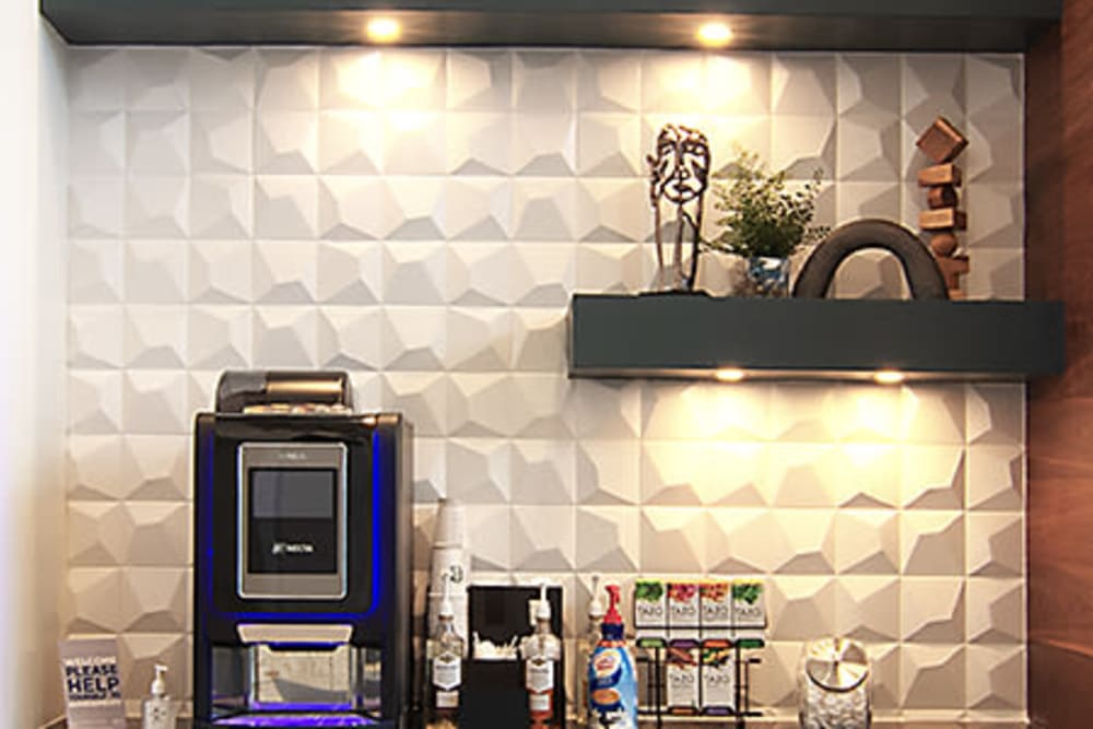 Coffee station at Integra Crossings in Sanford, Florida