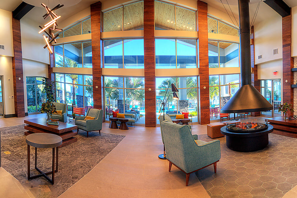 High ceiling and seating next to a window at Integra Crossings in Sanford, Florida