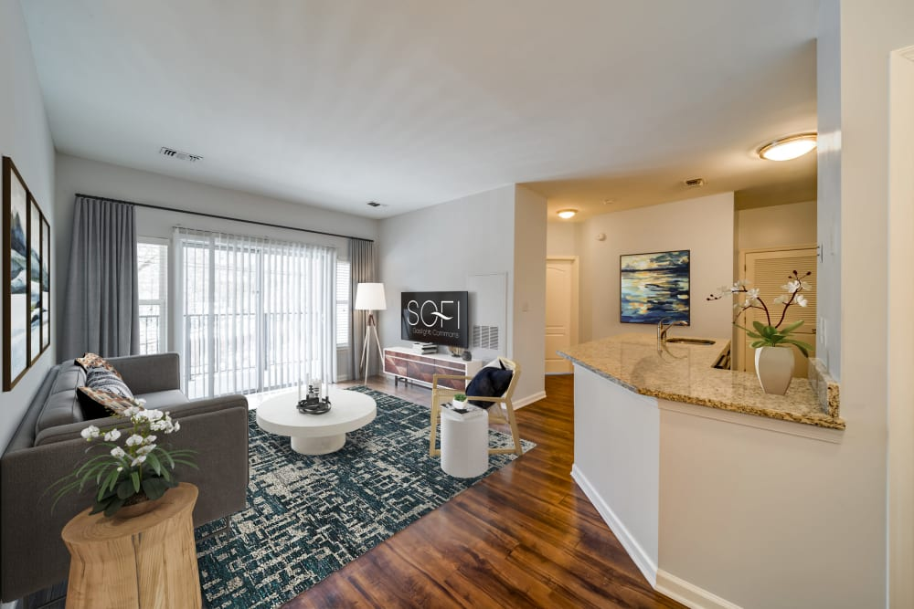 Kitchen and living area at Sofi Gaslight Commons in South Orange, New Jersey