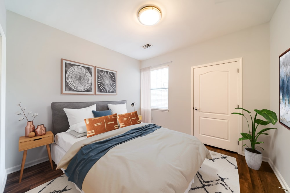 Open bedroom in a model home at Sofi Gaslight Commons in South Orange, New Jersey
