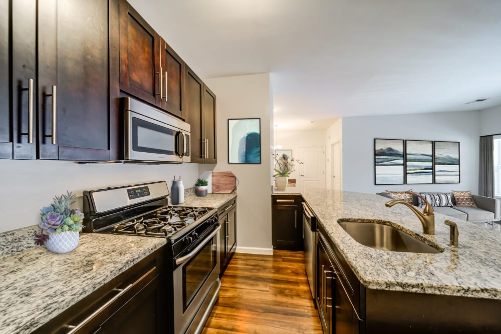 Kitchen with modern appliances at Sofi Gaslight Commons in South Orange, New Jersey