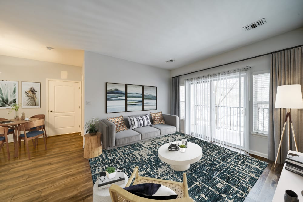 Sofi Gaslight Commons has naturally lit apartments with sliding glass doors in South Orange, New Jersey