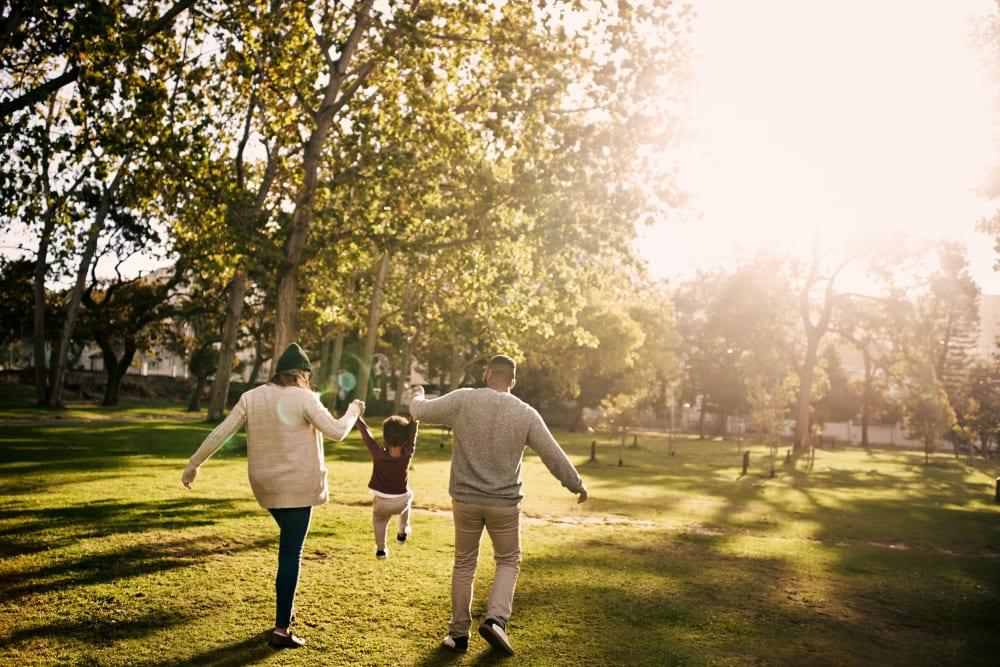Residents walking in park near Auburn Townhomes in Auburn, California