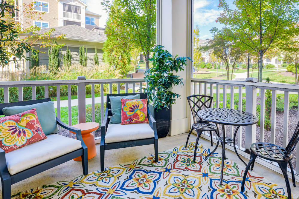 Private Patio at Oasis at Montclair Apartments in Dumfries , VA