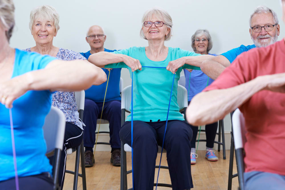 Residents in an exercise class at Absaroka Senior Living in Cody, Wyoming