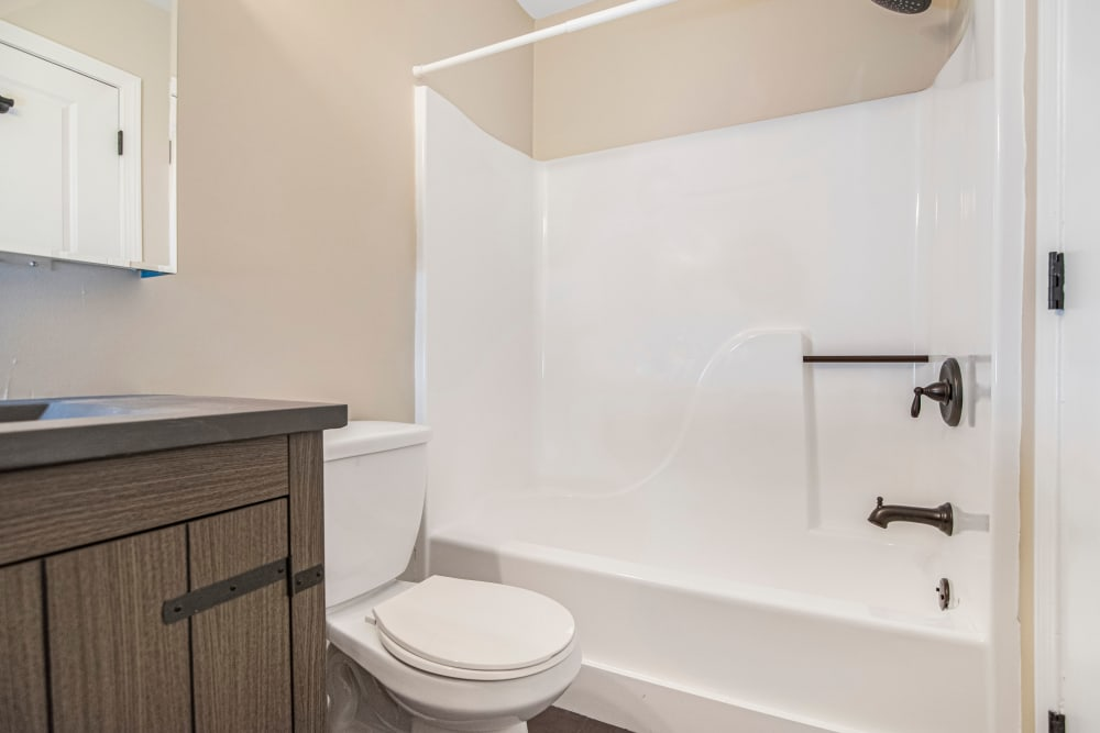 Bathroom with shower and bath at Retro 511 in West Haven, Connecticut