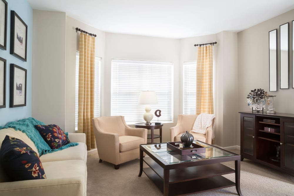Well-lit living room at Regency Place in Wilmington, Massachusetts