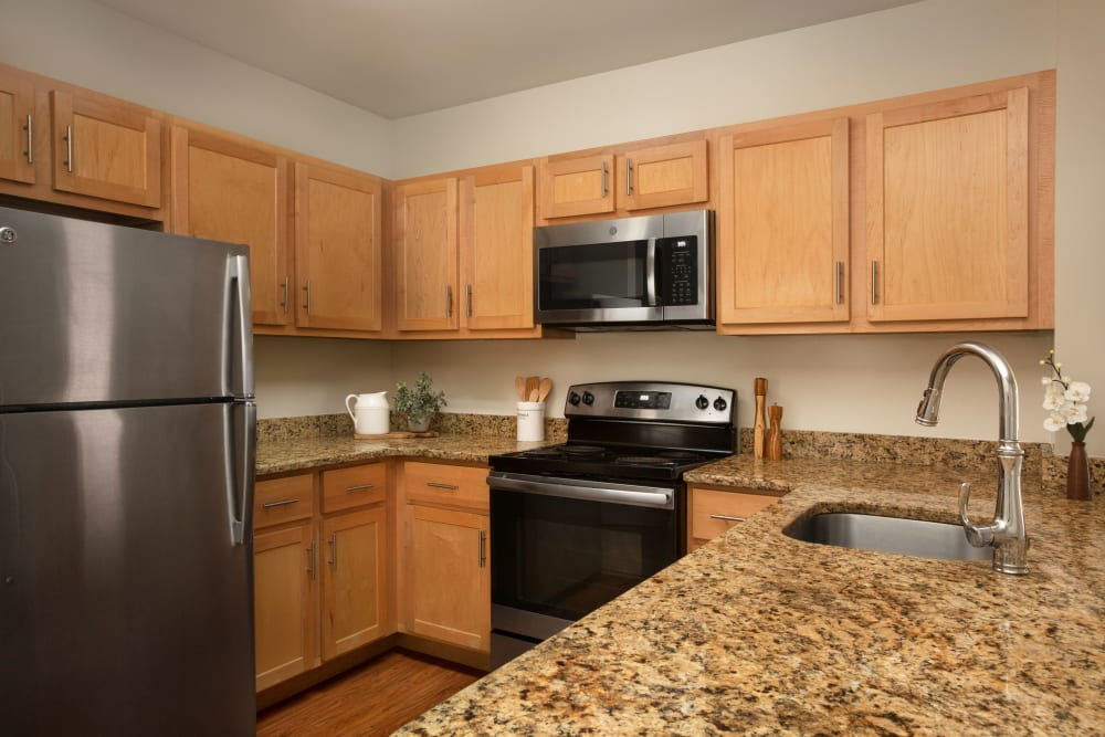 Lots of cabinets in the kitchen at Regency Place in Wilmington, Massachusetts