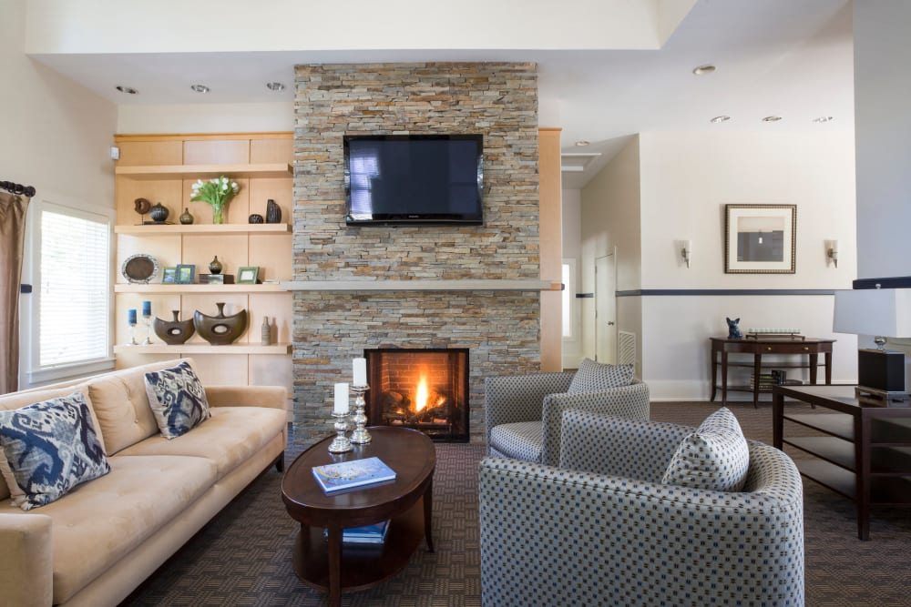 Well-appointed lobbywith fireplace at Regency Place in Wilmington, Massachusetts