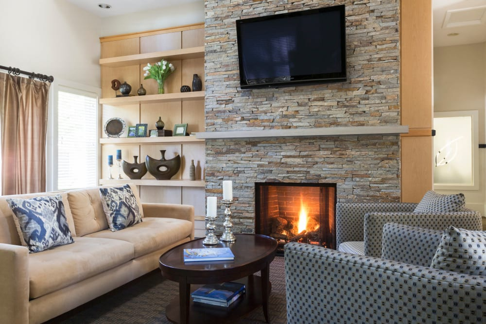 Fireplace and comfortable seating at Regency Place in Wilmington, Massachusetts