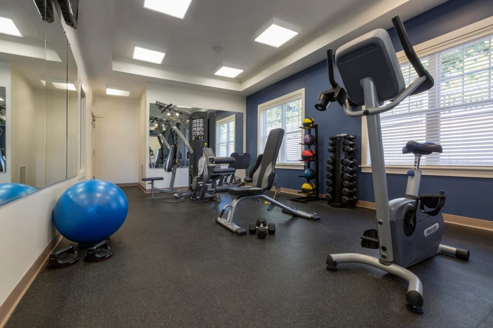Fitness center with space for individual workouts at Regency Place in Wilmington, Massachusetts