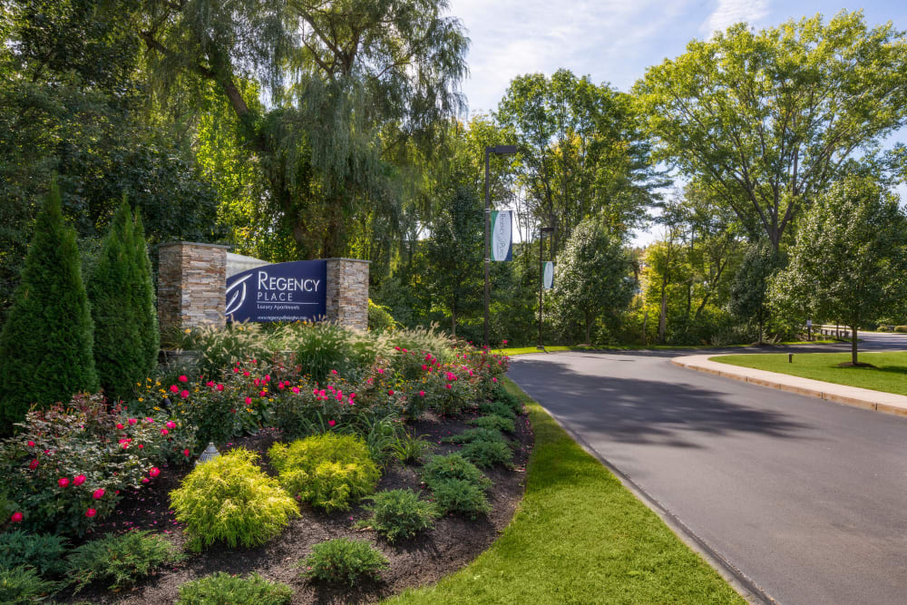Landscaped entrance at Regency Place in Wilmington, Massachusetts