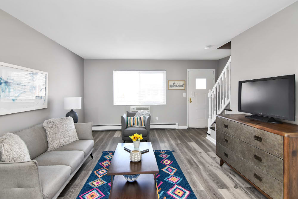 Cozy living room at Encore 99 in East Haven, Connecticut