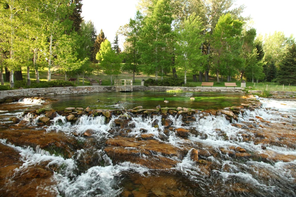 A small waterfall creek with rocks and flowing water near at The Iris Senior Living in Great Falls, Montana