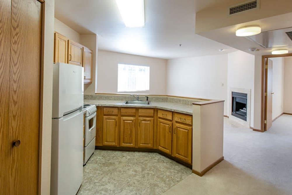 Kitchen in senior living apartment at The Iris Senior Living in Great Falls, Montana