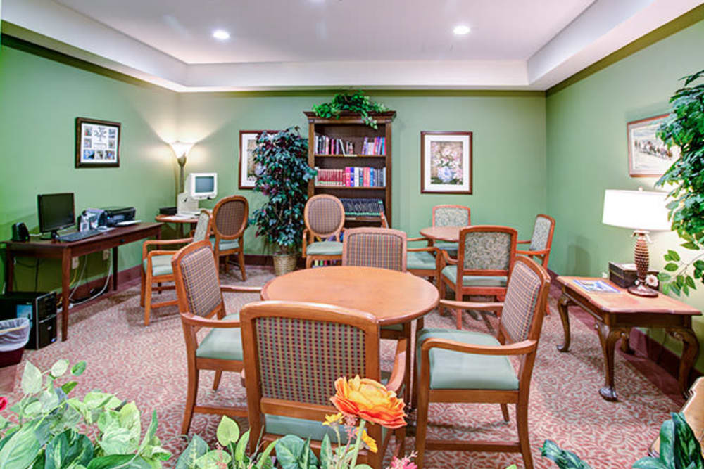 Recreation room with activities table at The Iris Senior Living in Great Falls, Montana
