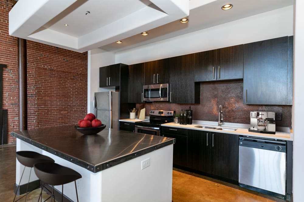 Fully equipped kitchens at The Lofts at Swift Mill in Columbus, Georgia
