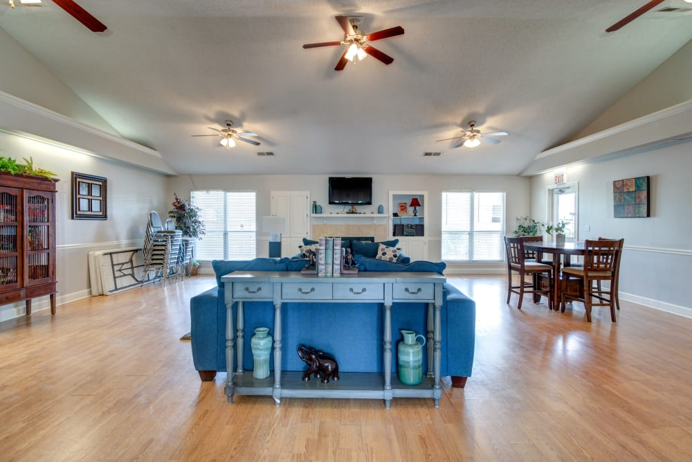 A beautiful clubhouse with wood-style flooring at Cedar Ridge in La Vergne, Tennessee