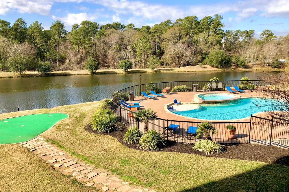 Lake view and pool at The Abbey on Lake Wyndemere in The Woodlands, TX