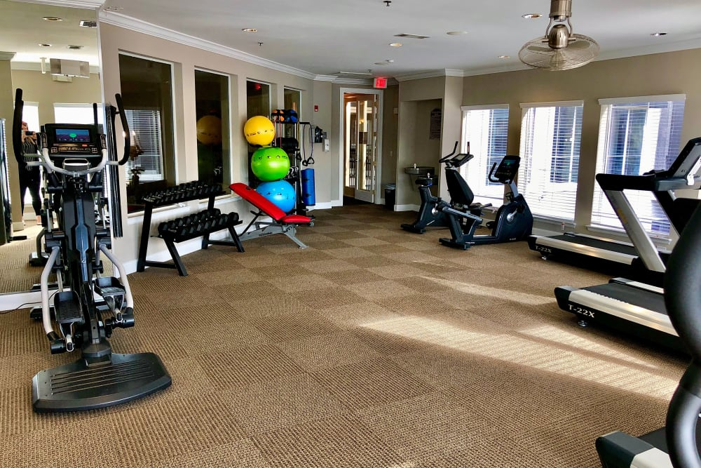 Gym area at The Abbey on Lake Wyndemere in The Woodlands, TX