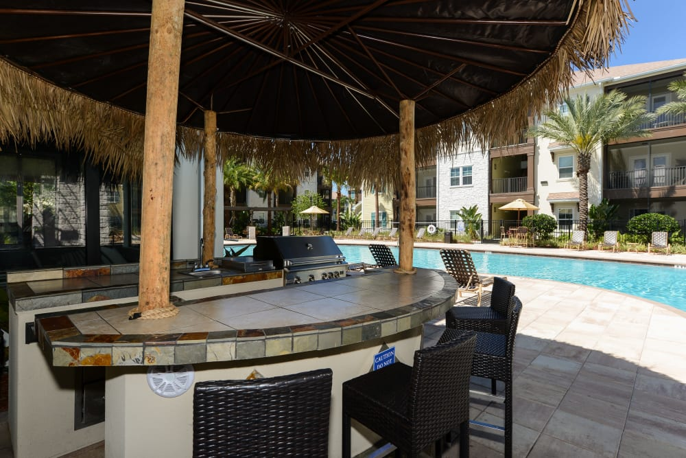 Outdoor bar seating at Cabana Club and Galleria Club in Jacksonville, FL