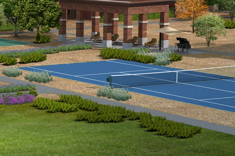 Rendering of the tennis court at The Crossing at Cooley Station in Gilbert, Arizona