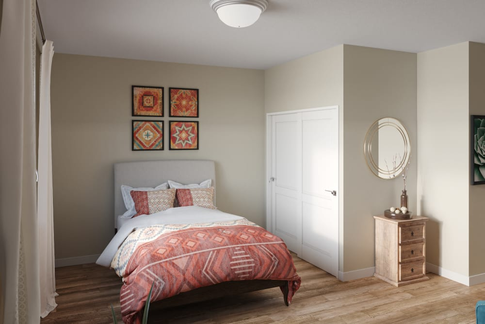 Memory care model bedroom at Ativo Senior Living of Yuma in Yuma, Arizona
