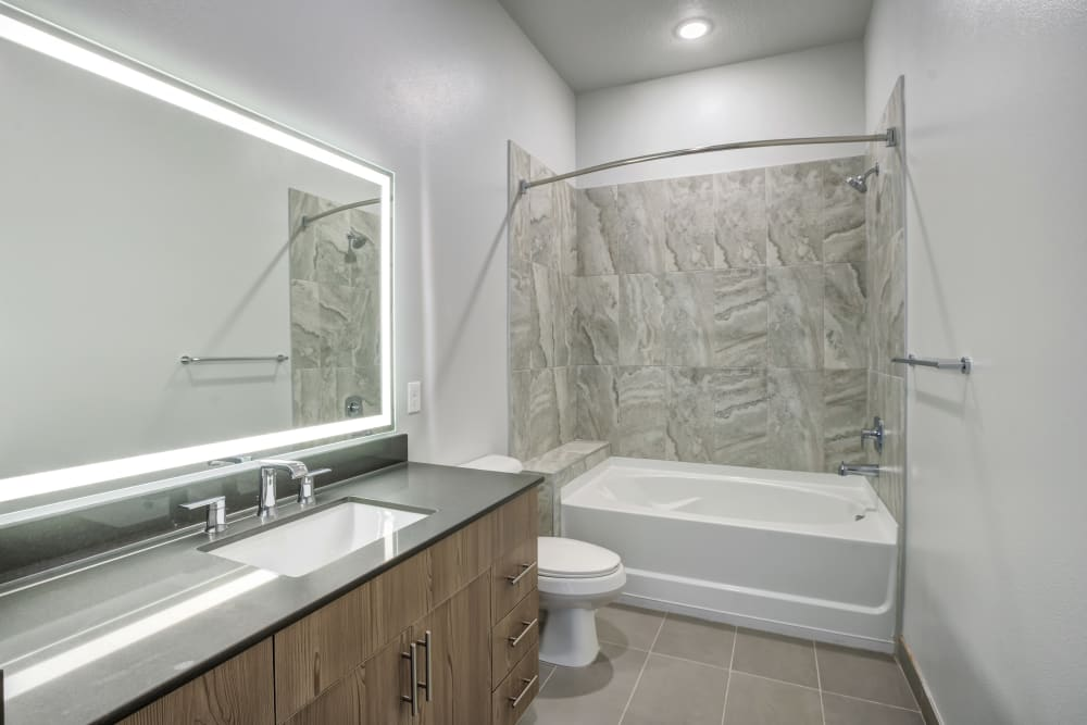 Oversized bathroom with tub and back-lit mirror at The District Flats in West Palm Beach, Florida