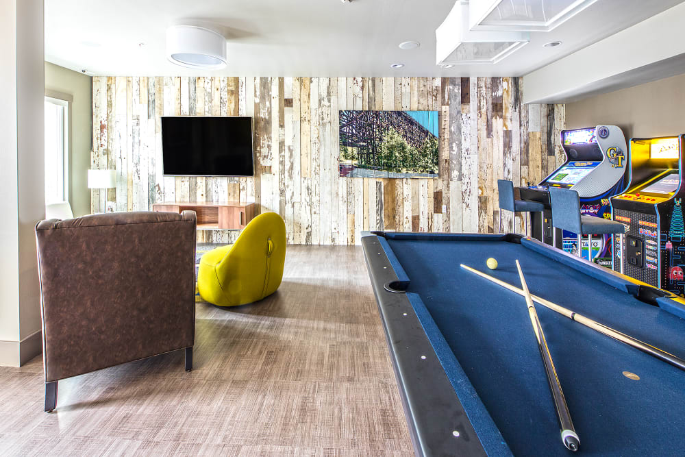 Resident Lounge and Game Room at The Meyden in Bellevue, Washington