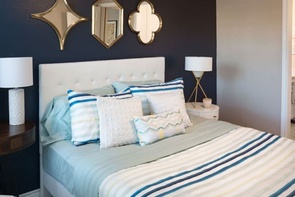 Cozy bedroom at Alesio Urban Center in Irving, Texas