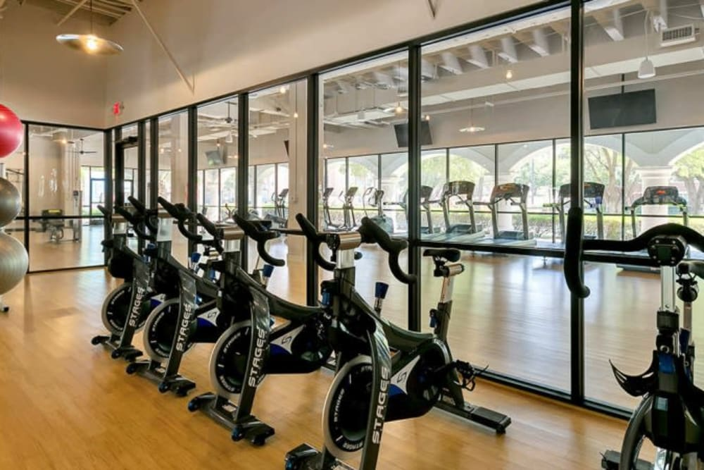 Spin and yoga room at Alesio Urban Center in Irving, Texas