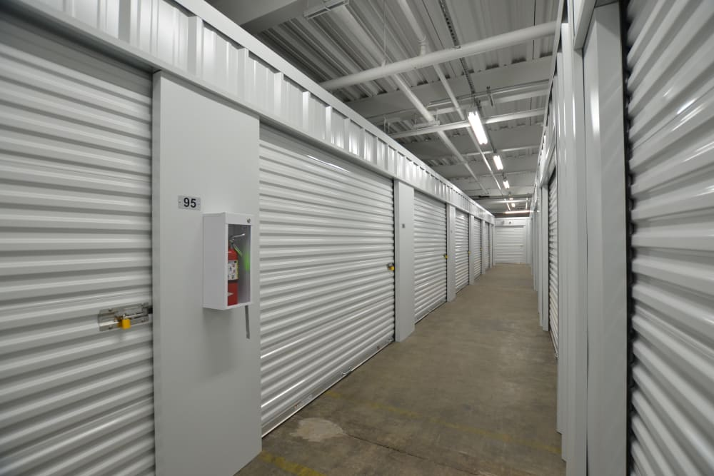 White doors on storage units at D Street Storage in Salem, Oregon