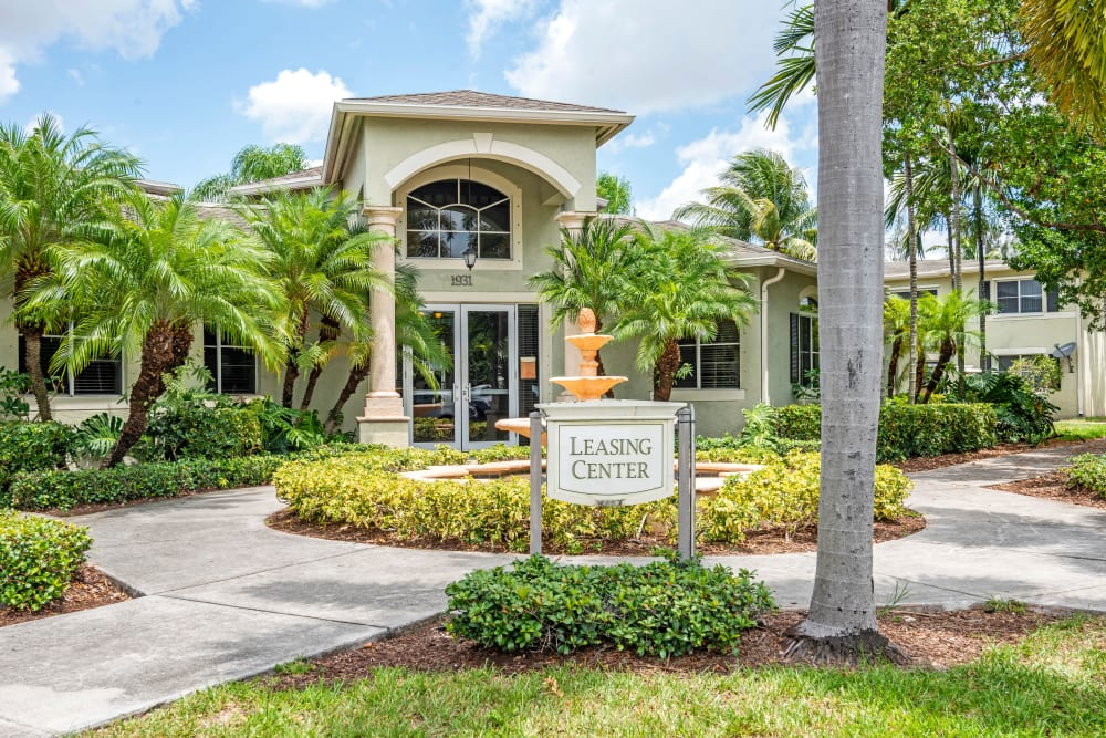 The entrance to the clubhouse at Emerald Dunes Apartments in Miami Gardens, Florida