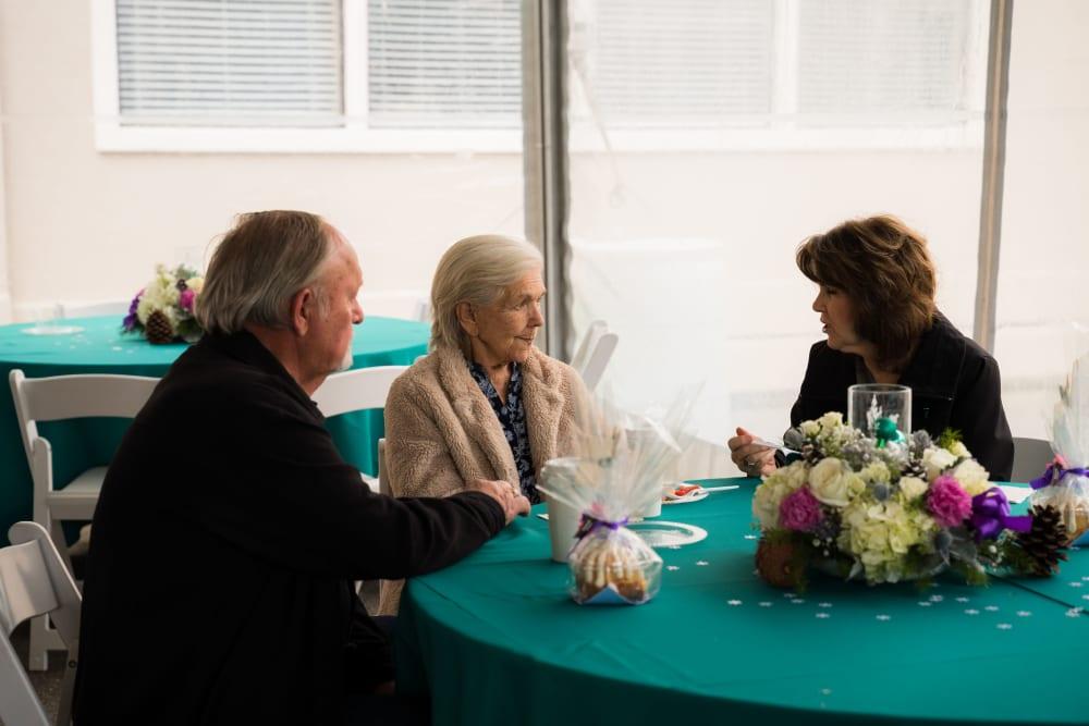 Residents talking at Carefield Pleasanton in Pleasanton, California