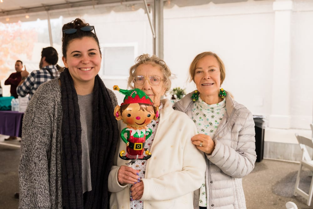 A resident and her family at Carefield Pleasanton in Pleasanton, California
