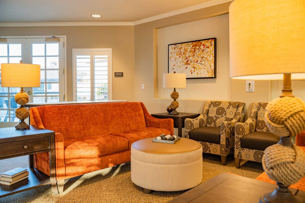 Cozy lounge at Carefield Pleasanton in Pleasanton, California.